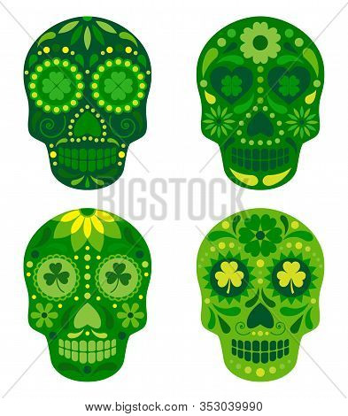 Vector Collection Of Mexican Sugar Skulls For St. Patricks Day