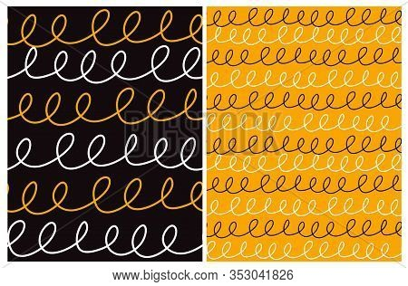 Abstract Hand Drawn Childish Style Seamless Vector Patterns.white And Orange Lines With Loops Isolat