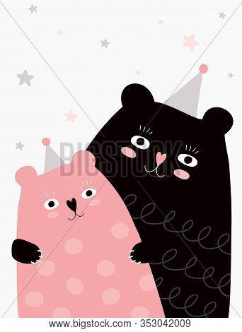 Cute Hand Drawn Big Bear And Little Baby Bear Vector Illustration. Sweet Nursery Art For Card, Invit