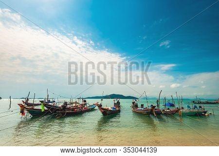 Ko Samui, Thailand - January 2, 2020: Authentic Thai Fishing Boats Docked At Thong Krut Beach In Tal