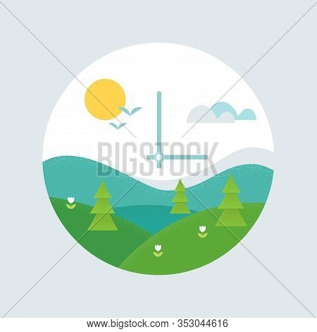 Spring Forward Clock Face. Daylight Saving Time Shift And Spring Landscape Vector Illustration