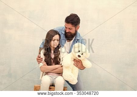 Making Surprise. Lovely Father And Kid. Father And Daughter Light Background. Strengthening Father D