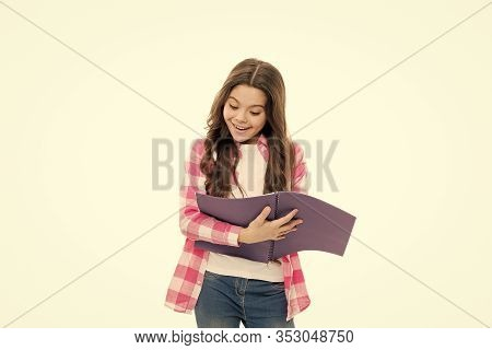 School Routine. Educational Process. Little Girl With Writing Pad. Cute Small School Child Hold Open