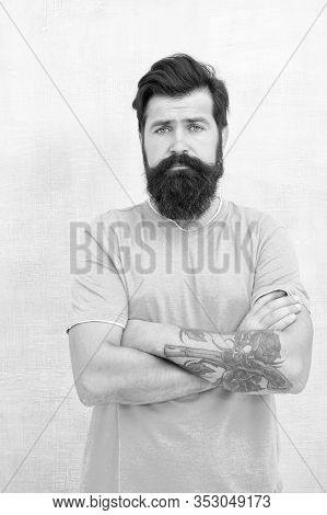 Bearded Hipster Brutal Guy. Products Is Essential For Maintaining Men Beard Care. Grow Long Beard. C