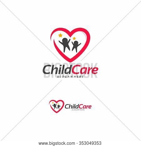 Charity Group Logo Designs Concept, Child Care Logo, People Care Logo Designs Concept Vector Illustr