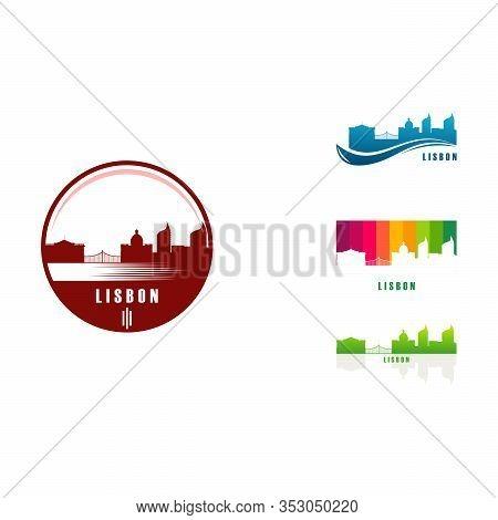 Set Of Lisbon City Skyline Logo Designs Vector, Big City European Logo Designs