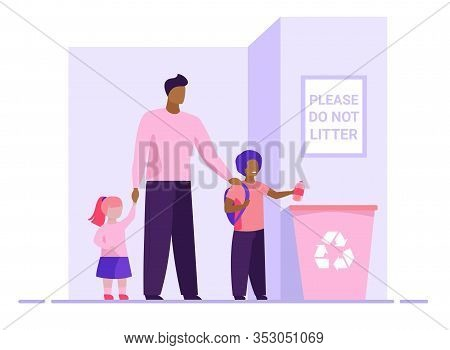 Dad With Kids Throwing Litter In Recycling Bin. Parent With Children Tossing Garbage Flat Vector Ill