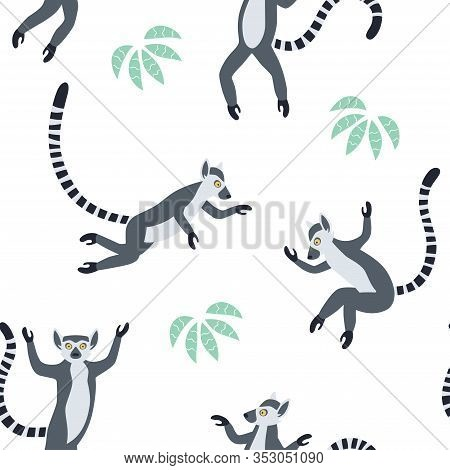 Exotic Madagascan Lemurs With Long Striped Tails. Hand Drawn Vector Seamless Pattern. Cute Animals I