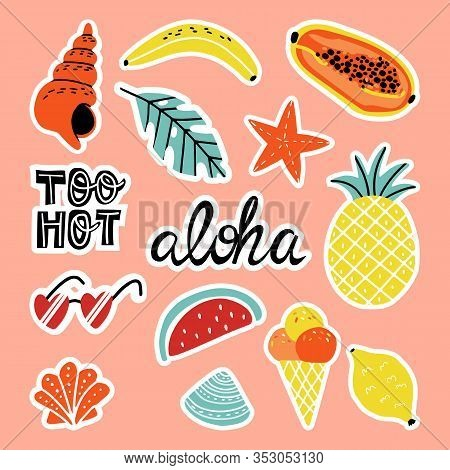 Fun Summer Quotes Stickers And Clip-art Set. Shells, Sea Star, Fruits, Palm Leaf, Ice Cream, Hearts-