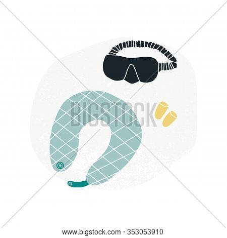 Travel Fun Vector Set - Sleep Mask, Ear Muffs And Neck Pillow. All Objects Are Movable. Flat Vector