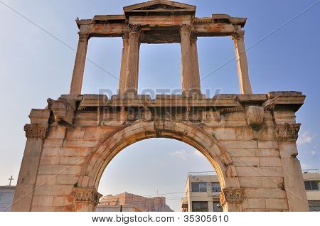Arch Of Hadrian With Acropolis Seen In The Background