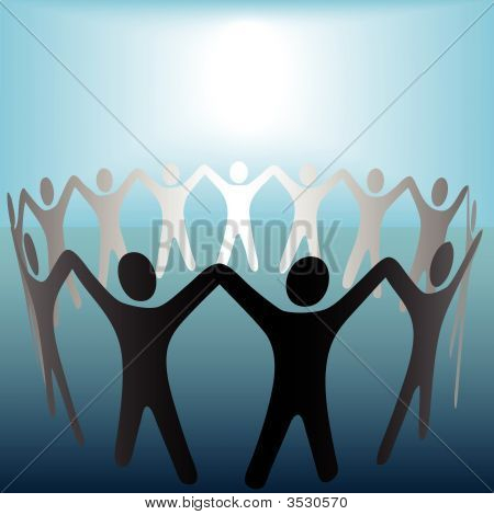 Circle Of People Hold Hands Under Bright Copyspace Spot On Blue