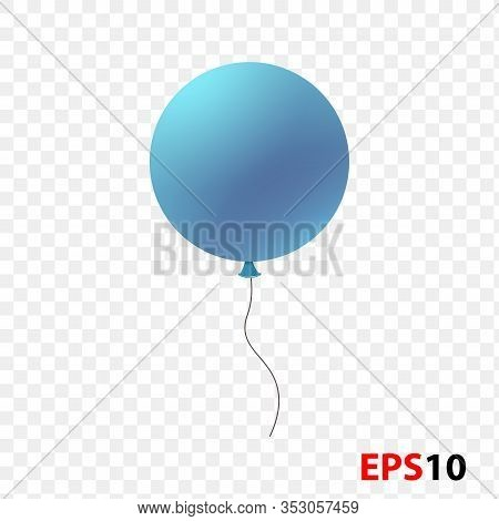 Ballon Realistic Blue Isolated On A Transparent Background.design Element For Celebration, Kids Desi