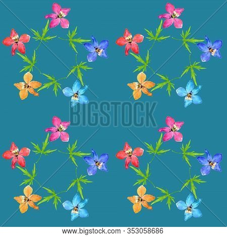 Delphinium, Larkspur. Illustration, Texture Of Flowers. Seamless Pattern For Continuous Replication.