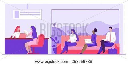 Bank Worker Providing Service To Customers. People In Bank Office Sitting In Line Flat Vector Illust