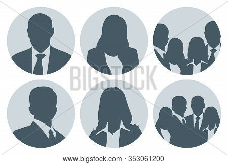 Silhouette Of Businessman And Businesswoman Pictures Set, Great For Website Picture Placeholder Espe