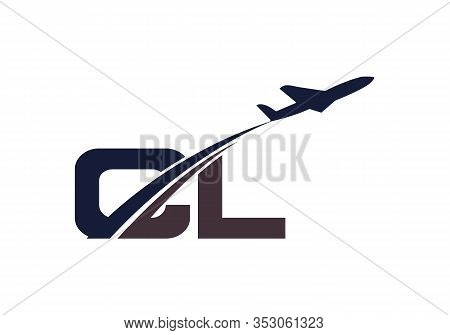 Initial Letter C And L  With Aviation Logo Design, Air, Airline, Airplane And Travel Logo Template.