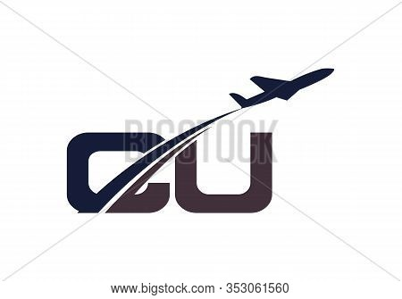 Initial Letter C And U  With Aviation Logo Design, Air, Airline, Airplane And Travel Logo Template.
