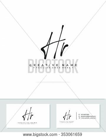 H R Hr Initial Logo Signature Vector. Handwriting Concept Logo.