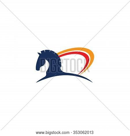 Abstract Equine Horse Head Simple Farm Symbol Logo