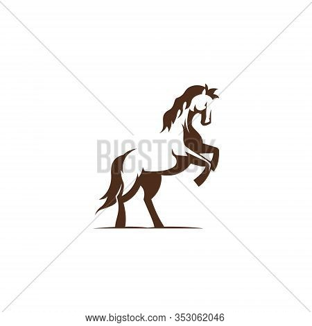 Elegant Strong Equine Horse Prancing Abstract Symbol Logo