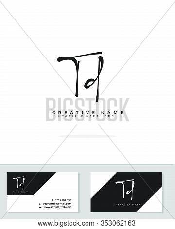 T D Td Initial Logo Signature Vector. Handwriting Concept Logo.
