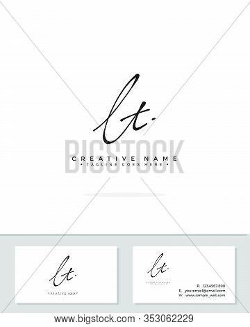 L T Lt Initial Logo Signature Vector. Handwriting Concept Logo.