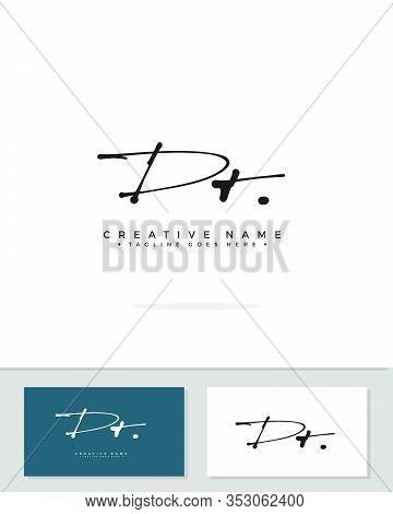 D T Dt Initial Logo Signature Vector. Handwriting Concept Logo.