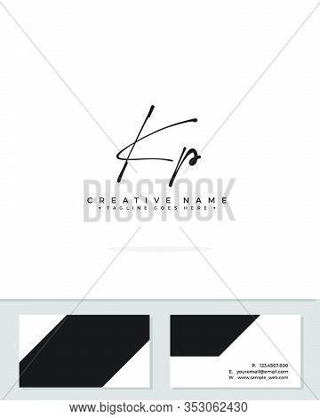 K P Kp Initial Logo Signature Vector. Handwriting Concept Logo.