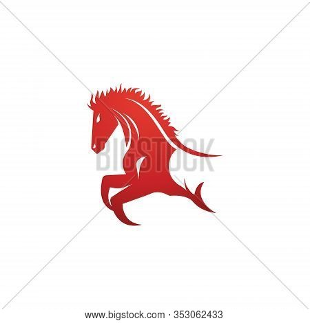 Strong Fast Equine Race Horse Running Jumping Symbol Logo