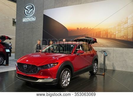 Philadelphia, Pennsylvania, U.s.a - February 9, 2020 - A Red Metallic 2020 Mazda Cx-30 All Wheel Dri