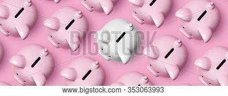 White Piggybank Standing Out Pink Piggybanks. High Angle View