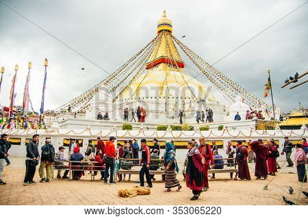 Boudhanath, Kathmandu, Nepal - October, 2019 Boudhanath Stupa, One Of The Largest Spherical Tibetan