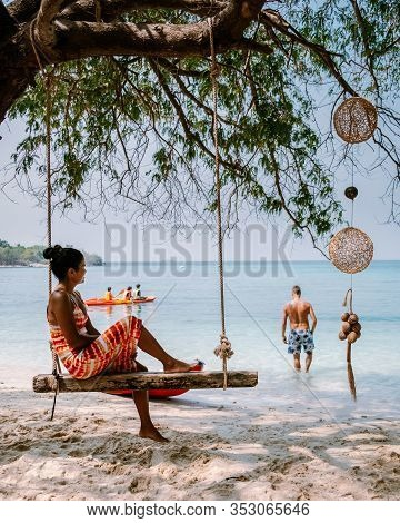 Koh Kham Trat Thailand, People Relax On Tropical Island Koh Kam Thailand, White Beach And Coast Of T