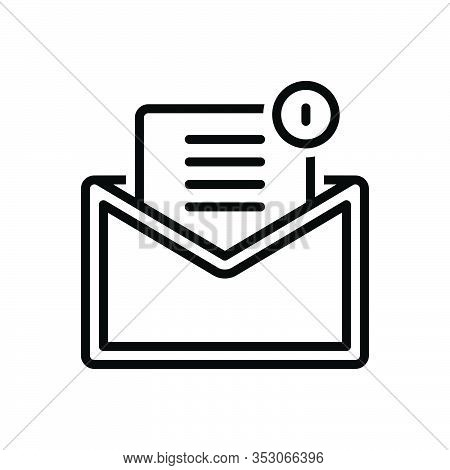 Black Line Icon For Mail Email Tidings Communication Newsletter Message Inbox Envelope Notification