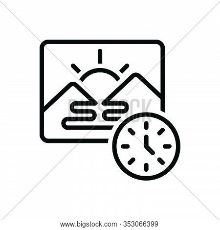 Black Line Icon For Morning Before-noon Dawn Daybreak Daylight Am Sunrise Daytime Natural Mountain
