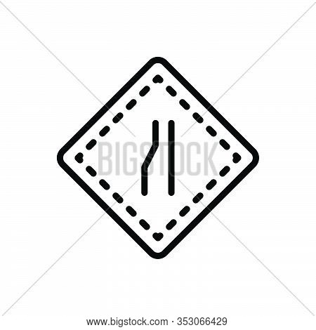 Black Line Icon For Narrow Parochial Highway Merge Space Space Tight Contracted Limited