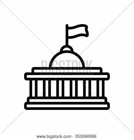 Black Line Icon For Nation Democracy Monarchy Building Capitol Federal History Architecture