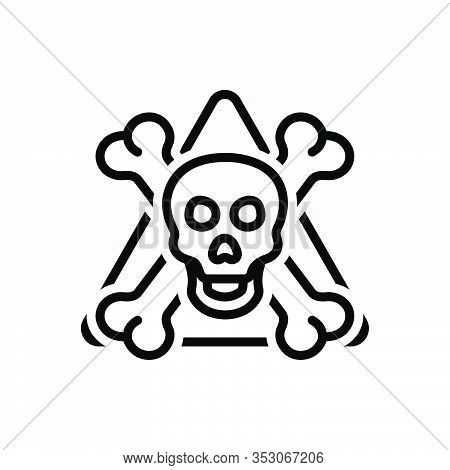 Black Line Icon For Danger Menace Peril Jeopardy  Daubt Pitfall Skull Skeleton Bone Halloween Warnin