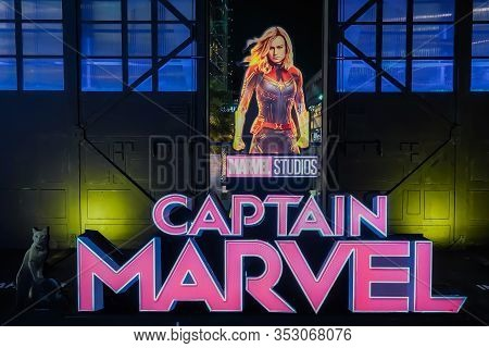 Bangkok, Thailand - March 10, 2019:: A Beautiful Standee Of A Movie Called Captain Marvel Or Carol D