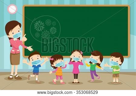 Teacher And Childrens Wear A Medical Face Mask With Chalkboard For Copy Space.teacher,boy And Girl W