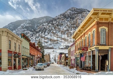 Georgetown, CO, USA - February 12, 2020: 6th Street in Georgetown, historic center of the mining industry in Colorado during the late 19th century, winter scenery.