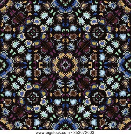 Dark Floral Mosaic Effect Vector Texture. Masculine Geometric Seamless Moody Boho Pattern. Hand Draw