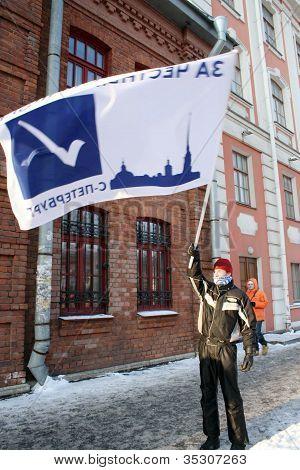 ST.PETERSBURG, RUSSIA-FEBRUARY 4:Meeting against unfair elections on Feb.4,2012 in St.Petersburg, RF