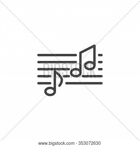 Melody Notes Line Icon. Musical Melody Linear Style Sign For Mobile Concept And Web Design. Music No