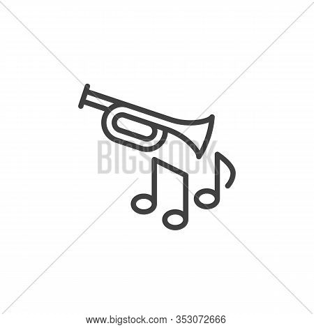 Trumpet Jazz Music Line Icon. Linear Style Sign For Mobile Concept And Web Design. Trumpet Music Not