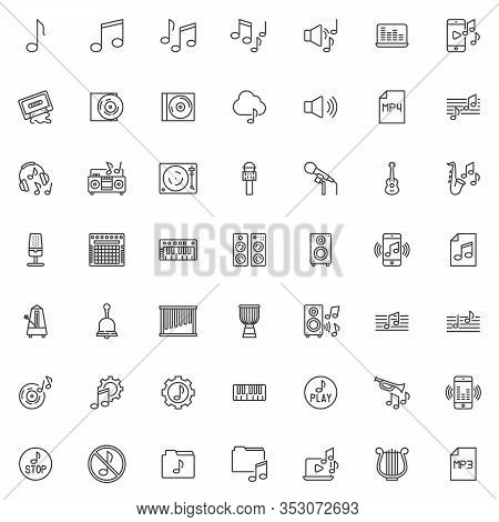 Sound And Music Line Icons Set. Linear Style Symbols Collection, Outline Signs Pack. Vector Graphics