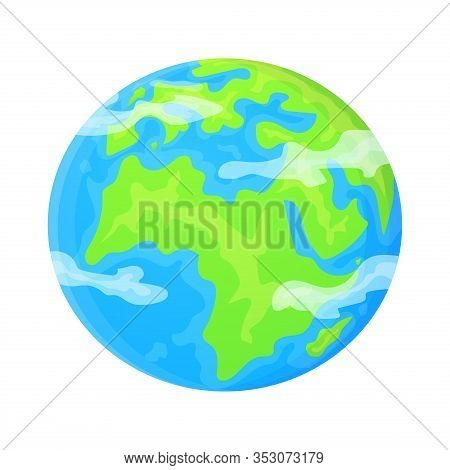 Flat Earth Planet Clipart. Cute Cartoon Object. Can Be Used As Global Symbol. Ecology Concept. Stock