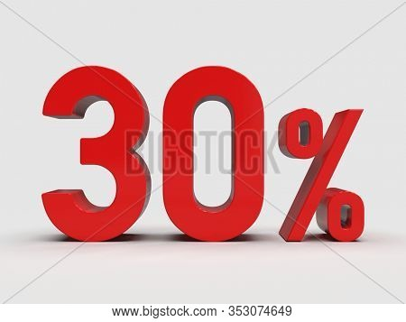 3d Render: Red 30% Percent Discount 3d Sign on Light Background, Special Offer 30% Discount Tag, Sale Up to 30 Percent Off, Thirty Percent Letters Sale Symbol, Special Offer Label, Sticker, Tag