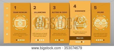 Medic Doctor And Nurse Onboarding Icons Set Vector. Hospital And Medic Case, Medical Diploma And Doc